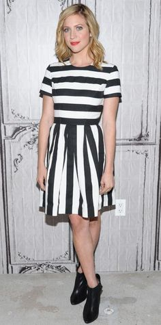 Look of the Day - May 16, 2015 - Brittany Snow And Skylar Astin With Writer Kay Cannon Visit AOL Build from #InStyle