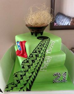 Cake - Samoa - tribal design on the cake.. My cake for sure! omg so dope!!
