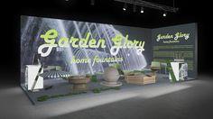 151 Gartendekoration Garden Glory   Auffälliger Messestand eines Herstellers von Gartendekoration.  Das Wassermotiv auf der hinterleuchteten Rückwand bringt das Firmenlogo und den Bezu...