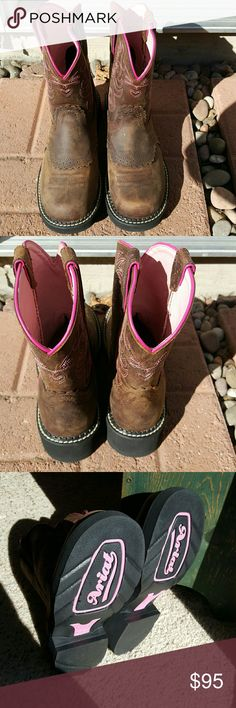 """Ariat """"Fatbaby"""" Saddle Boots Brand new Ariat Fatbaby Saddle Boots. They were only worn one time for 2 hours. They are really comfortable, pink stitching, and a gel cushioned footbed. They have no scratches or flaws. You can ride in these boots or wear them for casual wear. These boots are beautiful, they are just to big for me. Thank you! Ariat Shoes Heeled Boots"""