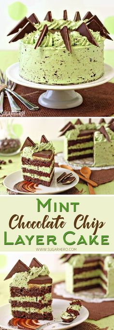 Mint Chocolate Chip Layer Cake - chocolate cake with Andes mints and a DELICIOUS mint chip frosting! | From SugarHero.com #SugarHero #layeredcake