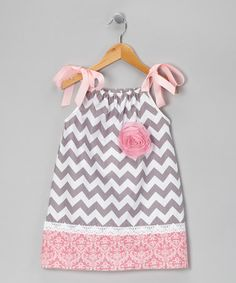 Take a look at this Pink & Gray Chevron Dress - Toddler & Girls by Million Polkadots on #zulily today!