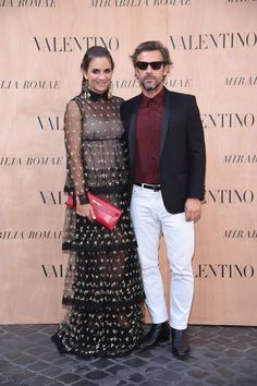 Laure Heriard Dubreuil in a Valentino gown from the Fall 2015 collection to the Mirabilia Romae Haute Couture Show, on July 9th 2015.