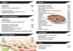 descargar plantilla para carta bar tapas editable Cafe Bar, Menu Bar, Creative Brochure, Restaurant Design, Editable, Food, Recipes, Bird Cage, Home