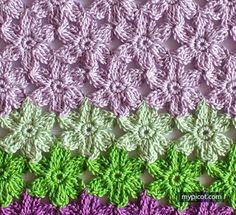 Crochet Flower Stitch Pattern - MyPicot | Free Crochet Stitch Patterns - https://mypicot.com/2083.html
