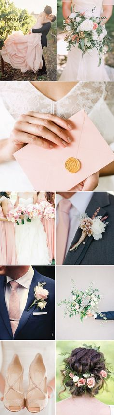 Rose quartz wedding inspiration!! That tie and boutonniere are gorgeous.