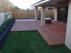 Backyard Deck and Landscaping Ideas . Backyard Deck and Landscaping Ideas . Timbertech Deck Design with Patio Outdoor Kitchen by Long Backyard Fences, Backyard Landscaping, Landscaping Ideas, Pool Fence, Timber Deck, Patio Flooring, Diy Deck, Building A Deck, Deck Design