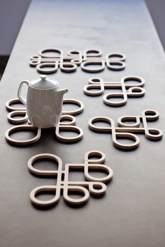 These wonderful little trivets are fantastic! Inside Out Wood Trivet Collection by Anne Thomas.
