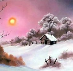 Pink Sunset in Winter Style of Bob Ross art for sale at Toperfect gallery. Buy the Pink Sunset in Winter Style of Bob Ross oil painting in Factory Price. Bob Ross Landscape, Landscape Art, Landscape Paintings, Oil Paintings, Winter Painting, Winter Art, Winter Style, Winter Snow, Pinturas Bob Ross