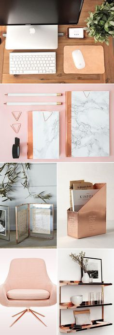 Rose gold has been around in the jewelry industry for many years, and now even more popular as girls all over the world are in love with the new rose gold mobile device! The pretty metallic pink trend is blowing up everywhere, and if you are a fan of it, why not let it inspire … Bedroom Ideas Rose Gold, Rose Gold Room Decor, Rose Gold Room Accessories, Copper Desk Accessories, Diy Home Decor Bedroom Girl, Girl Room Decor, Diy Room Decor For College, Flower Room Decor, Diy Room Decor For Girls
