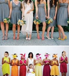 Love the different colored shoes with the grey dresses!
