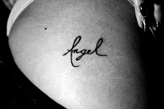 """Angel"" hip tattoo"