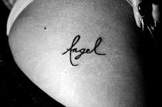 """Angel"" hip tattoo"