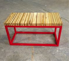 32 in x 16 in x 15.5 in Industrial Steel Bench / Coffee Table, Hand made in NYC from 100% recycled wood shipping pallets, clear coated to provide a scratch and water resistant finish. Steel in 1 inch square tube.