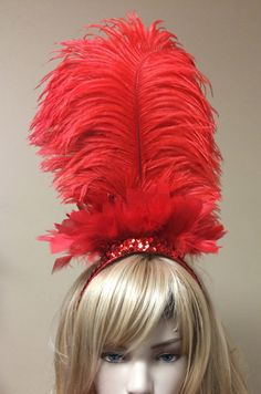 Pick Colors-Sequin & Ostrich Feather Headdress Headband Hair Accessory Saloon Showgirl Burlesque Costume