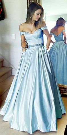 a5bba634ff5 Sweeheart Off Shoulder Blue Prom Dress with Beaded Waist Custom Made Satin  Beadings Evening Party Dress Fashion Long School Dance Dress PD514