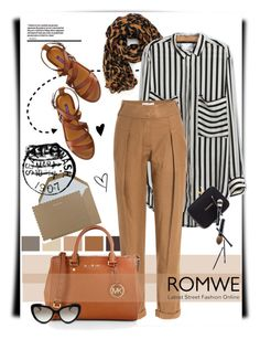"""ROMWE Blouse"" by lailah37 ❤ liked on Polyvore featuring Sugar Paper, Donna Karan, Ralph Lauren Collection, MICHAEL Michael Kors, Prada and Guide London"