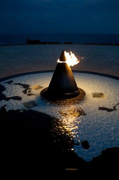 Eternal flame at the Okinawa Prefectural Peace Memorial, Japan