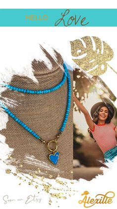 """30"""" or 32"""" long necklace made of small Turquoise rondelles featuring a gold plated clicker lock and a lovely blue enamel heart pendant. Add your own pendants and charms to personnalize it and make it a one of a kind necklace!"""