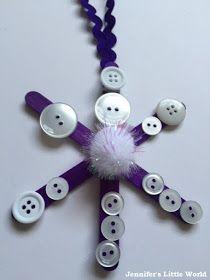 Lollipop stick and button snowflake Christmas decoration