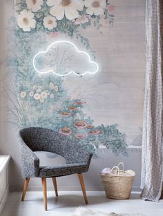A modern chair, floral wall paper, neon cloud. So in love with the design of this whimsical corner!