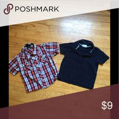 Boys button up and polo shirt Boys plaid button up and solid navy polo shirts Shirts & Tops Button Down Shirts