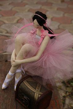 Bailarina hecha de tela y tul.