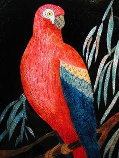 Antique reverse painting on glass parrot bird via Etsy Parrot Bird, Dark Backgrounds, Wooden Frames, Screens, Art Ideas, Vibrant, Collage, Buttons, Windows