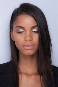 Daiane Sodre with soft pink shade on eyes