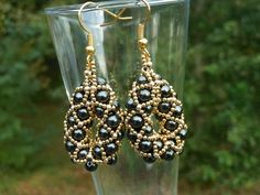 Black Glass Pearl and 24k Gold Plated Metal by CraftingMemories1 @dusamae