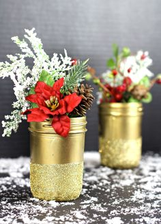 Gold Glittered Mason Jar Vases - These adorable glittered jars are easy to make and can be used for so many things!