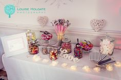 Compton Verney hire out this gorgeous fully stocked sweet table when booking your wedding with them. Photo by Louise Holgate Photography.
