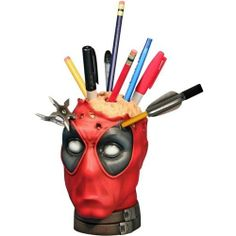 """""""Gentle Giant, Ltd. has designed an awesome 6 inch tall bust of the Marvel Comics anti-hero Deadpool that functions as a pencil or pen holder for your desk. It is available to pre-order at Gentle Giant, Ltd. and Entertainment Earth. Marvel Comics, Marvel Room, Pencil Cup, Dead Pool, 3d Prints, Gentle Giant, Geek Out, Desk Accessories, Hero Arts"""