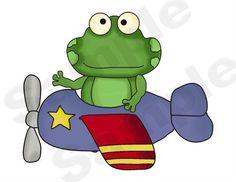 AIRPLANE AVIATOR FROGS WALL BORDER DECALS BABY BOY NURSERY KIDS ROOM DECOR $35.99 #decampstudios