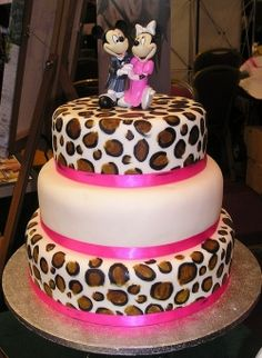 Leopard Print Cake.. just rip off the mickey and minnie and it would be cute
