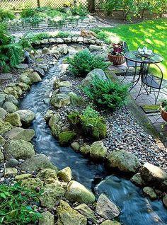 Ponds Backyard, Small Backyard Landscaping, Landscaping With Rocks, Landscaping Ideas, Backyard Ideas, Backyard Stream, Backyard Designs, Landscaping Software, Garden Stream
