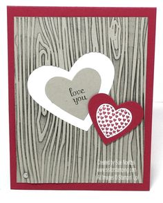 Valentine's Day Woodgrain Card Stampin' Up! Hearts A Flutter stamp set
