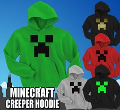 Minecraft Creeper Hoodie Video C418  3D Game  by LOGOPrintCompany, $22.95