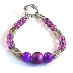 Women's Lilac Purple with Silver Accents Beaded Bracelet by DungleBees on Etsy