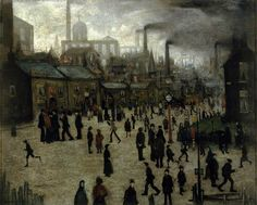 A Manufacturing Town, 1922, by Laurence Stephen Lowry.  Oil on panel, 43.2 x 53.3 cm.