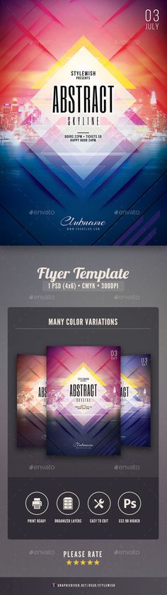 Abstract Skyline Flyer - PSD Template • Only available here ➝ http://graphicriver.net/item/abstract-skyline-flyer/16910727?ref=pxcr