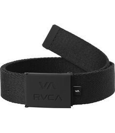 The RVCA Corner Web Belt is a striped polyester web belt with an embossed, metal clasp buckle and a bottle opener.