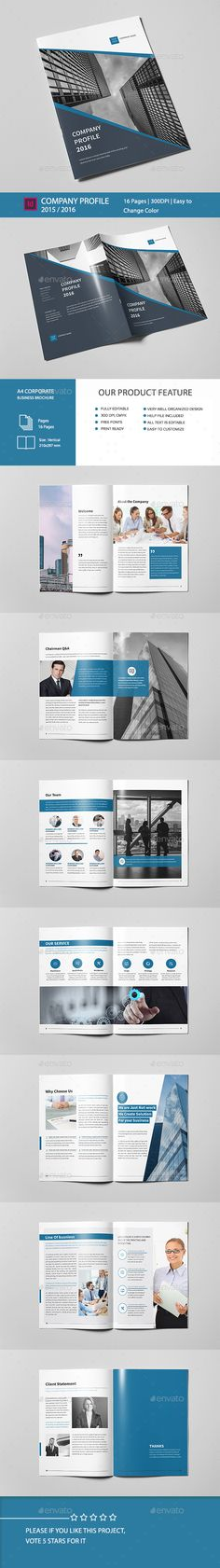 Company Profile Brochure 16 Pages A4 Template InDesign INDD. Download here: http://graphicriver.net/item/company-profile-brochure-16-pages-a4/15737253?ref=ksioks