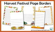 Harvest Festival teaching resources to download for the Foundation Phase - Early Years - KS1 - kindergarten Primary Resources, Teaching Resources, Teaching Ideas, Page Borders, Harvest, Kindergarten, Foundation, Arts And Crafts, Bullet Journal