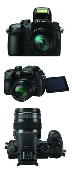 Front, angle and top views of Panasonic's new Lumix GH4 camera.
