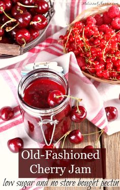 This low sugar no pectin cherry jam recipe is perfect for preserving cherries for all year long. Easy, frugal, and high on taste! Cherry Jam Recipe Without Pectin, Cherry Jam Recipes, Cherry Butter Recipe, Cherry Freezer Jam, Sour Cherry Jam, Cherry Syrup, Oxtail Recipes, Cooker Recipes, Sweets