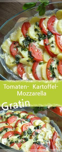 In einer Auflauflauf im Backofen. tomato-mozzarella-potatoes gratin potato al horno asadas fritas recetas diet diet plan diet recipes recipes Fresh Tomato Recipes, Veggie Recipes, Vegetarian Recipes, Healthy Recipes, Potato Recipes, Diet Recipes, Comidas Paleo, Potatoes Au Gratin, Tomato Mozzarella