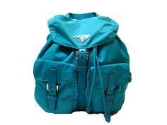 turquoise Prada backpack