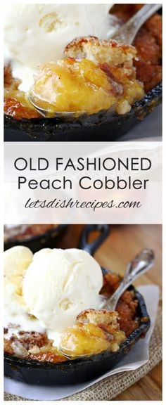Old Fashioned Peach Cobbler Recipe | Fresh peaches, cinnamon and a simple cobbler batter come together in this old fashioned dessert recipe. Best served warm with vanilla ice cream!