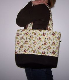 Owl Tote Purse  Diaper Bag five inside pockets by lisalynnitems